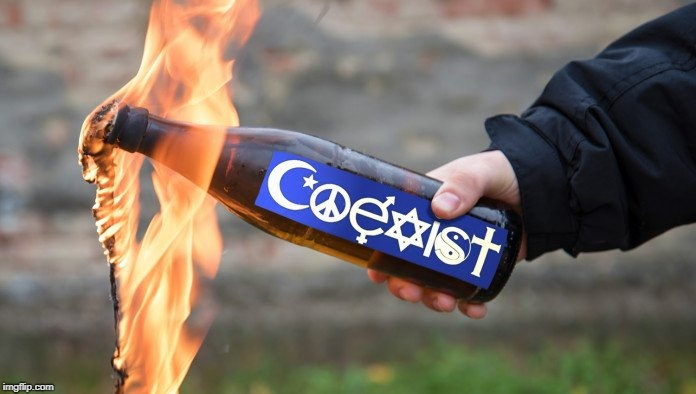 Show the people you're violently protesting how tolerant you are with 'Coexist' Molotov Cocktails | SHOW THE PEOPLE YOU'RE VIOLENTLY PROTESTING HOW TOLERANT YOU ARE | image tagged in coexist,molotov cocktail,violent protest,protesters,memes | made w/ Imgflip meme maker