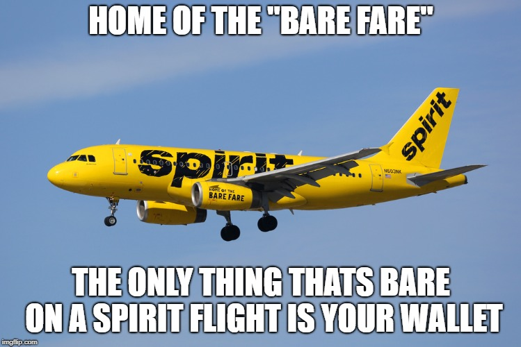 "HOME OF THE ""BARE FARE"" THE ONLY THING THATS BARE ON A SPIRIT FLIGHT IS YOUR WALLET 