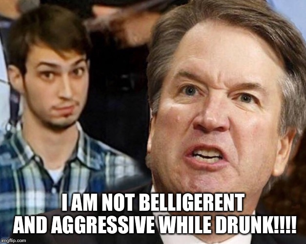 Belligerent BART Kavanaugh |  I AM NOT BELLIGERENT AND AGGRESSIVE WHILE DRUNK!!!! | image tagged in bart,brett kavanaugh,drunk,aggressive,guilty,supreme court | made w/ Imgflip meme maker