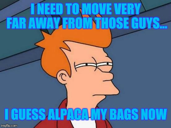 Futurama Fry Meme | I NEED TO MOVE VERY FAR AWAY FROM THOSE GUYS... I GUESS ALPACA MY BAGS NOW | image tagged in memes,futurama fry | made w/ Imgflip meme maker