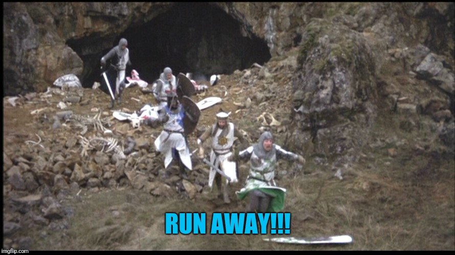 Run Away Monty Python | RUN AWAY!!! | image tagged in run away monty python | made w/ Imgflip meme maker