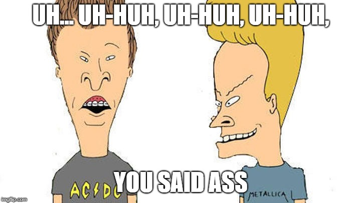 Beavis & Butthead | UH... UH-HUH, UH-HUH, UH-HUH, YOU SAID ASS | image tagged in beavis  butthead | made w/ Imgflip meme maker
