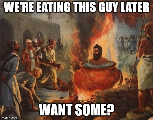 cannibal | WE'RE EATING THIS GUY LATER WANT SOME? | image tagged in cannibal | made w/ Imgflip meme maker
