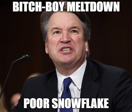 Krybaby Kavanaugh |  BITCH-BOY MELTDOWN; POOR SNOWFLAKE | image tagged in kavanaugh tantrum,crybaby,snowflake,screaming,scotus | made w/ Imgflip meme maker