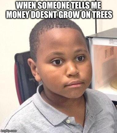 Minor Mistake Marvin | WHEN SOMEONE TELLS ME MONEY DOESNT GROW ON TREES | image tagged in memes,minor mistake marvin | made w/ Imgflip meme maker