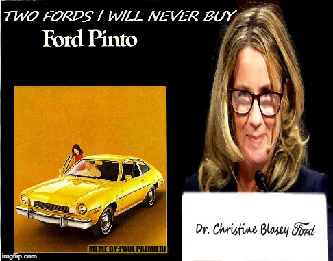 Christine Blasey F.O.R.D Fix Or Repair Daily | MEME BY:PAUL PALMIERI | image tagged in christine blasey ford,brett kavanaugh,funny memes,hilarious memes,ford,dumb people | made w/ Imgflip meme maker