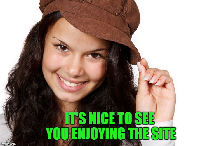 Beautiful Girl Craziness | IT'S NICE TO SEE YOU ENJOYING THE SITE | image tagged in beautiful girl craziness | made w/ Imgflip meme maker