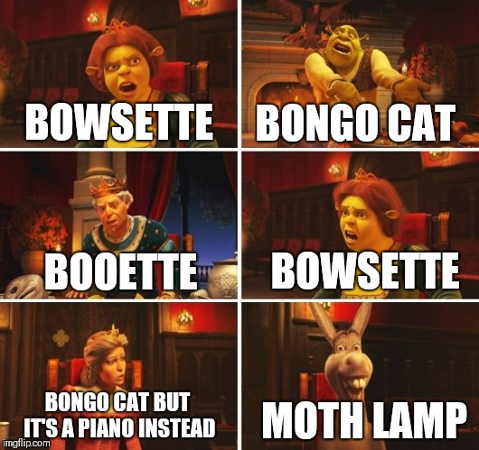 September in a nutshell | BOWSETTE BOOETTE BOWSETTE BONGO CAT BONGO CAT BUT IT'S A PIANO INSTEAD MOTH LAMP | image tagged in shrek fiona harold donkey,september | made w/ Imgflip meme maker