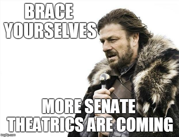 Just when you thought it was safe to go into the committee chambers | BRACE YOURSELVES MORE SENATE THEATRICS ARE COMING | image tagged in memes,brace yourselves x is coming,kavanaugh,senate,circus | made w/ Imgflip meme maker
