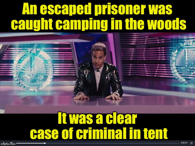 In other news . . . | An escaped prisoner was caught camping in the woods It was a clear case of criminal in tent | image tagged in obviously obvious news report,memes,bad puns,tent,breaking news | made w/ Imgflip meme maker