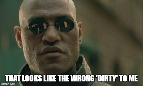 Matrix Morpheus Meme | THAT LOOKS LIKE THE WRONG 'DIRTY' TO ME | image tagged in memes,matrix morpheus | made w/ Imgflip meme maker