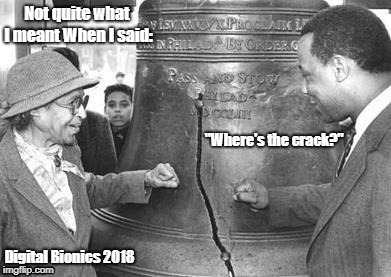 "Not quite what I meant When I said: ""Where's the crack?"" Digital Bionics 2018 