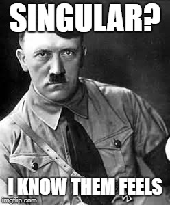 Adolf Hitler | SINGULAR? I KNOW THEM FEELS | image tagged in adolf hitler | made w/ Imgflip meme maker