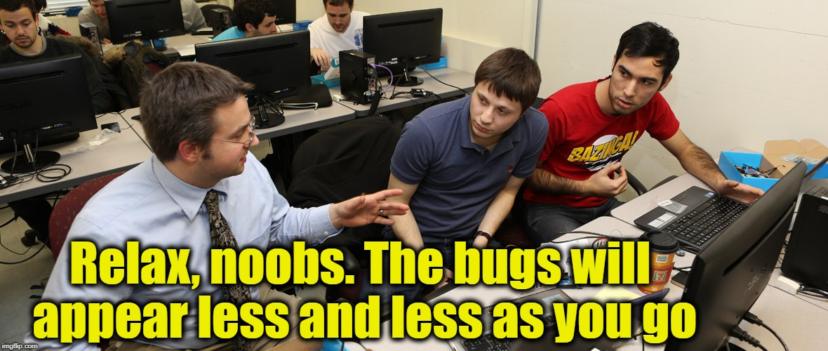 Relax, noobs. The bugs will appear less and less as you go | made w/ Imgflip meme maker