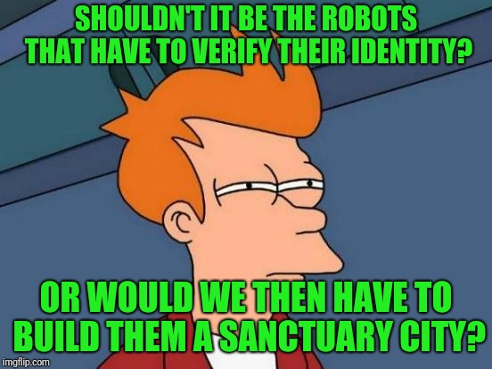 Futurama Fry Meme | SHOULDN'T IT BE THE ROBOTS THAT HAVE TO VERIFY THEIR IDENTITY? OR WOULD WE THEN HAVE TO BUILD THEM A SANCTUARY CITY? | image tagged in memes,futurama fry | made w/ Imgflip meme maker
