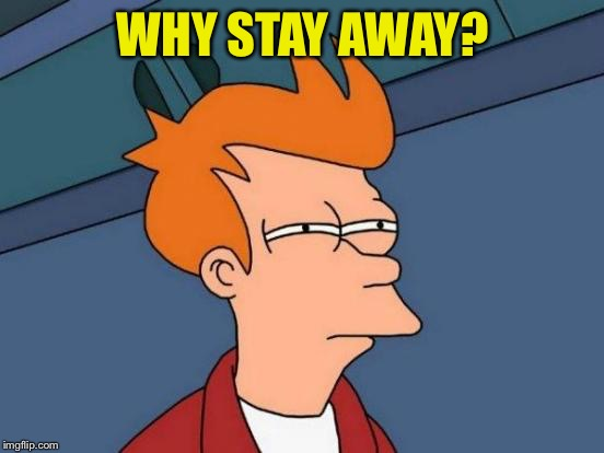 Futurama Fry Meme | WHY STAY AWAY? | image tagged in memes,futurama fry | made w/ Imgflip meme maker