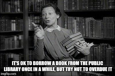 Wealthy Librarian | IT'S OK TO BORROW A BOOK FROM THE PUBLIC LIBRARY ONCE IN A WHILE, BUT TRY NOT TO OVERDUE IT | image tagged in wealthy librarian | made w/ Imgflip meme maker