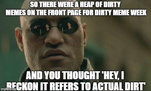 Matrix Morpheus Meme | SO THERE WERE A HEAP OF DIRTY MEMES ON THE FRONT PAGE FOR DIRTY MEME WEEK AND YOU THOUGHT 'HEY, I RECKON IT REFERS TO ACTUAL DIRT' | image tagged in memes,matrix morpheus | made w/ Imgflip meme maker