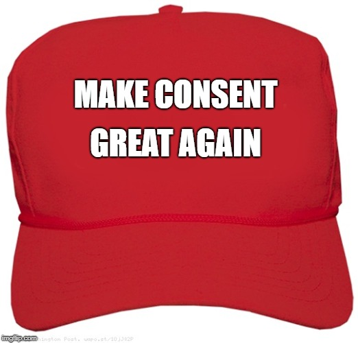 blank red MAGA hat | MAKE CONSENT GREAT AGAIN | image tagged in blank red maga hat | made w/ Imgflip meme maker