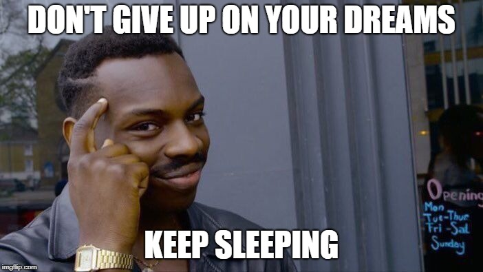Roll Safe Think About It Meme | DON'T GIVE UP ON YOUR DREAMS KEEP SLEEPING | image tagged in memes,roll safe think about it | made w/ Imgflip meme maker