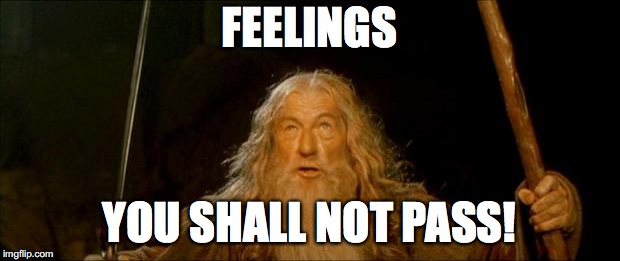 gandalf you shall not pass |  FEELINGS; YOU SHALL NOT PASS! | image tagged in gandalf you shall not pass | made w/ Imgflip meme maker