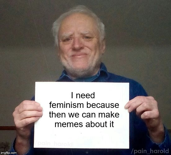 Sorta late. | I need feminism because then we can make memes about it | image tagged in harold,hide the pain harold,memes,i need feminism because | made w/ Imgflip meme maker