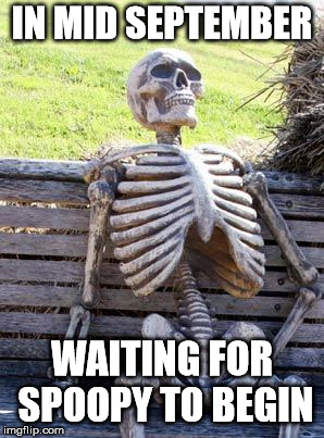 Why does this time of year last so long? | IN MID SEPTEMBER WAITING FOR SPOOPY TO BEGIN | image tagged in memes,waiting skeleton,still waiting,halloween,spooky,october | made w/ Imgflip meme maker
