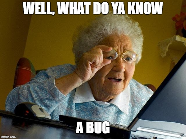 WELL, WHAT DO YA KNOW A BUG | image tagged in memes,grandma finds the internet | made w/ Imgflip meme maker