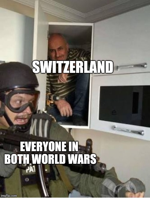 SWITZERLAND EVERYONE IN BOTH WORLD WARS | image tagged in guy hiding | made w/ Imgflip meme maker