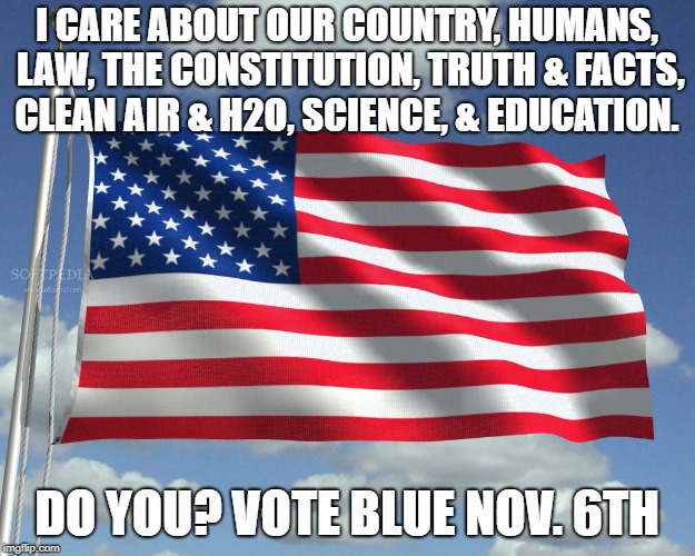 I CARE ABOUT OUR COUNTRY, HUMANS, LAW, THE CONSTITUTION, TRUTH & FACTS, CLEAN AIR & H2O, SCIENCE, & EDUCATION. DO YOU? VOTE BLUE NOV. 6TH | image tagged in usa | made w/ Imgflip meme maker