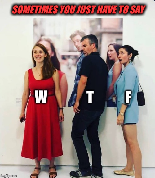 Distracted Boyfriend:  Anybody know how long it's been? | W F T SOMETIMES YOU JUST HAVE TO SAY | image tagged in distracted boyfriend,getting old,wtf | made w/ Imgflip meme maker