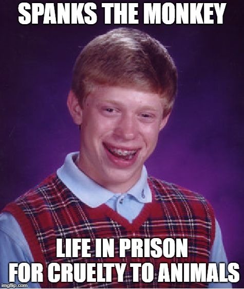 Poor monkey! | SPANKS THE MONKEY LIFE IN PRISON FOR CRUELTY TO ANIMALS | image tagged in memes,bad luck brian | made w/ Imgflip meme maker