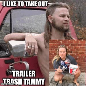 HillBilly | I LIKE TO TAKE OUT TRAILER TRASH TAMMY | image tagged in hillbilly | made w/ Imgflip meme maker