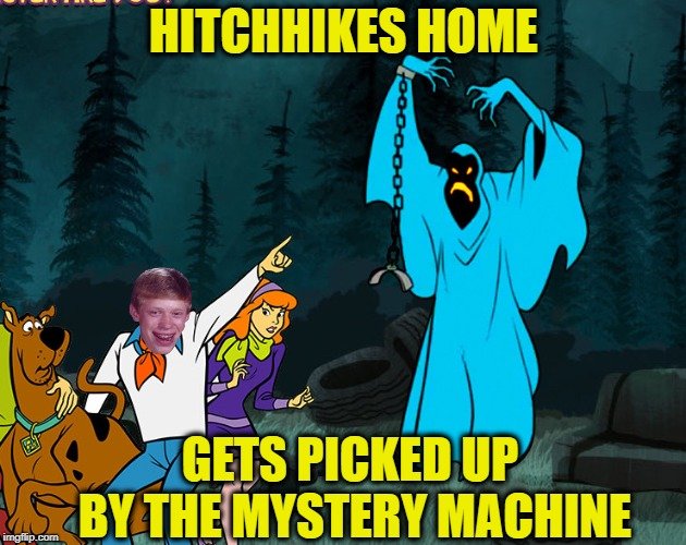HITCHHIKES HOME GETS PICKED UP BY THE MYSTERY MACHINE | made w/ Imgflip meme maker