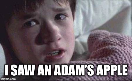 I See Dead People Meme | I SAW AN ADAM'S APPLE | image tagged in memes,i see dead people | made w/ Imgflip meme maker