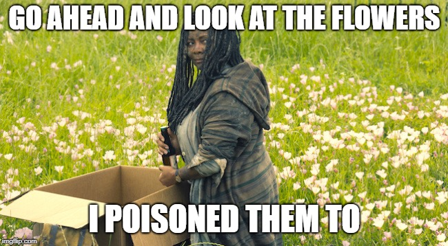 Filthy woman poisons the flowers | GO AHEAD AND LOOK AT THE FLOWERS I POISONED THEM TO | image tagged in filthy woman | made w/ Imgflip meme maker