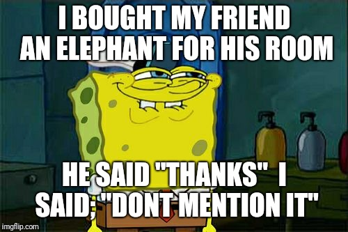 "Dont You Squidward Meme | I BOUGHT MY FRIEND AN ELEPHANT FOR HIS ROOM HE SAID ""THANKS""  I SAID; ""DONT MENTION IT"" 