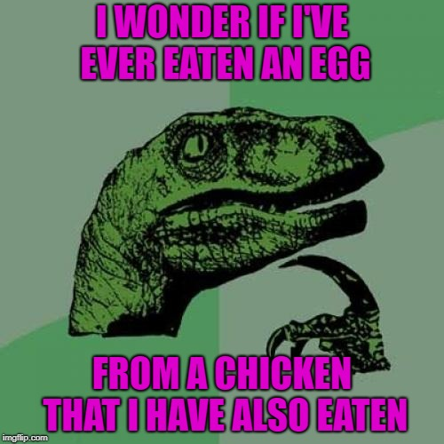 And which did I eat first...the chicken or the egg? | I WONDER IF I'VE EVER EATEN AN EGG FROM A CHICKEN THAT I HAVE ALSO EATEN | image tagged in memes,philosoraptor,chicken,funny,egg,animals | made w/ Imgflip meme maker