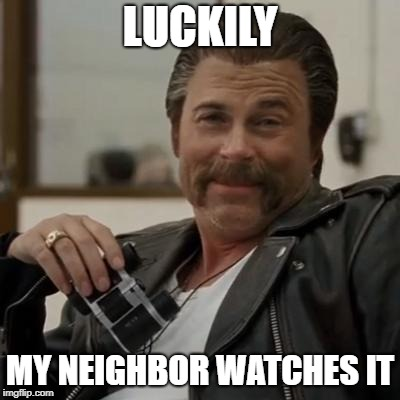Creepy Rob Lowe | LUCKILY MY NEIGHBOR WATCHES IT | image tagged in creepy rob lowe | made w/ Imgflip meme maker