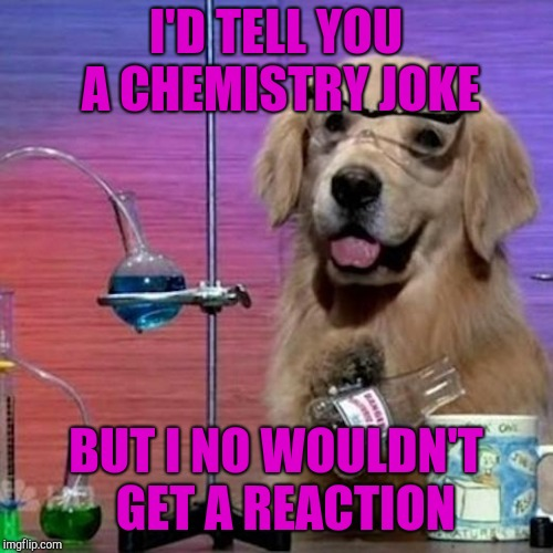 I Have No Idea What I Am Doing Dog | I'D TELL YOU A CHEMISTRY JOKE BUT I NO WOULDN'T  GET A REACTION | image tagged in memes,i have no idea what i am doing dog | made w/ Imgflip meme maker