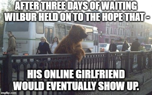 LOVE ON THE LINE | AFTER THREE DAYS OF WAITING WILBUR HELD ON TO THE HOPE THAT - HIS ONLINE GIRLFRIEND WOULD EVENTUALLY SHOW UP. | image tagged in memes,city bear,he will never get a girlfriend,love story,broken heart | made w/ Imgflip meme maker