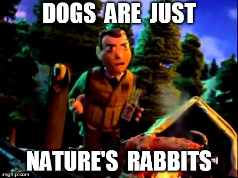 DOGS  ARE  JUST NATURE'S  RABBITS | image tagged in moral orel | made w/ Imgflip meme maker