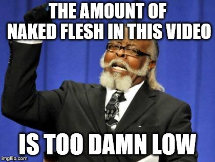Too Damn High Meme | THE AMOUNT OF NAKED FLESH IN THIS VIDEO IS TOO DAMN LOW | image tagged in memes,too damn high | made w/ Imgflip meme maker