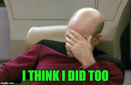 Captain Picard Facepalm Meme | I THINK I DID TOO | image tagged in memes,captain picard facepalm | made w/ Imgflip meme maker