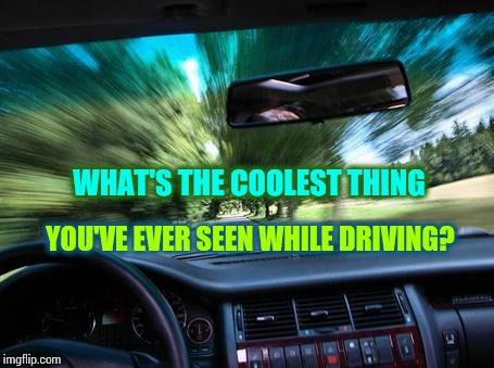 Get In, Buckle Up, Turn Up the Tunage and Just Go. | WHAT'S THE COOLEST THING YOU'VE EVER SEEN WHILE DRIVING? | image tagged in driving fast,memes,meme,what are those,what is that,what the hell did i just watch | made w/ Imgflip meme maker