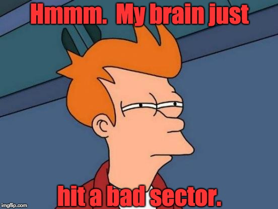 Futurama Fry Meme | Hmmm.  My brain just hit a bad sector. | image tagged in memes,futurama fry | made w/ Imgflip meme maker