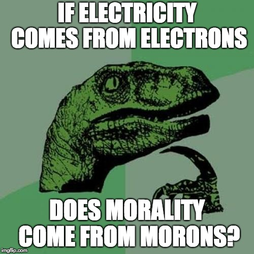 Philosoraptor Meme | IF ELECTRICITY COMES FROM ELECTRONS DOES MORALITY COME FROM MORONS? | image tagged in memes,philosoraptor | made w/ Imgflip meme maker