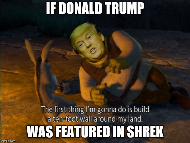 If Donald Trump was Shrek | IF DONALD TRUMP WAS FEATURED IN SHREK | image tagged in meme | made w/ Imgflip meme maker