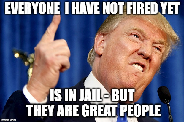 Donald Trump | EVERYONE  I HAVE NOT FIRED YET IS IN JAIL - BUT THEY ARE GREAT PE0PLE | image tagged in donald trump | made w/ Imgflip meme maker