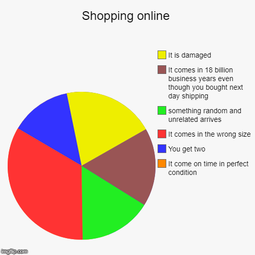 Online shopping in a nutshell | Shopping online | It come on time in perfect condition, You get two, It comes in the wrong size, something random and unrelated arrives, It  | image tagged in funny,online shopping,funny memes,pie charts | made w/ Imgflip chart maker